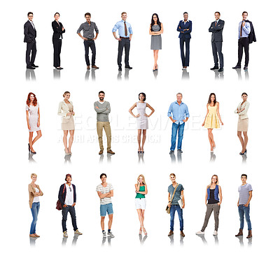 Buy stock photo Composite image of a variety of people isolated on white