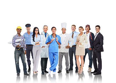 Buy stock photo Studio shot of a group of people representing various professions