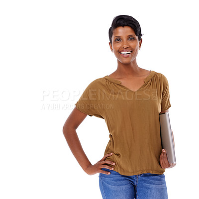 Buy stock photo Studio portrait of an attractive young woman posing against a white background