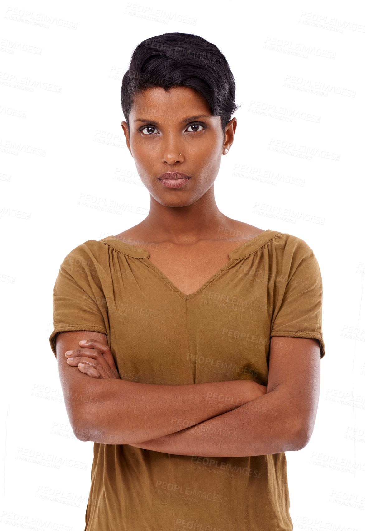 Buy stock photo Cropped portrait of a young african american woman with her arms folded