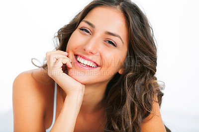 Buy stock photo Portrait of a beautiful young woman giving you a toothy smile
