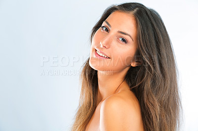 Buy stock photo Portrait of a beautiful young woman in studio