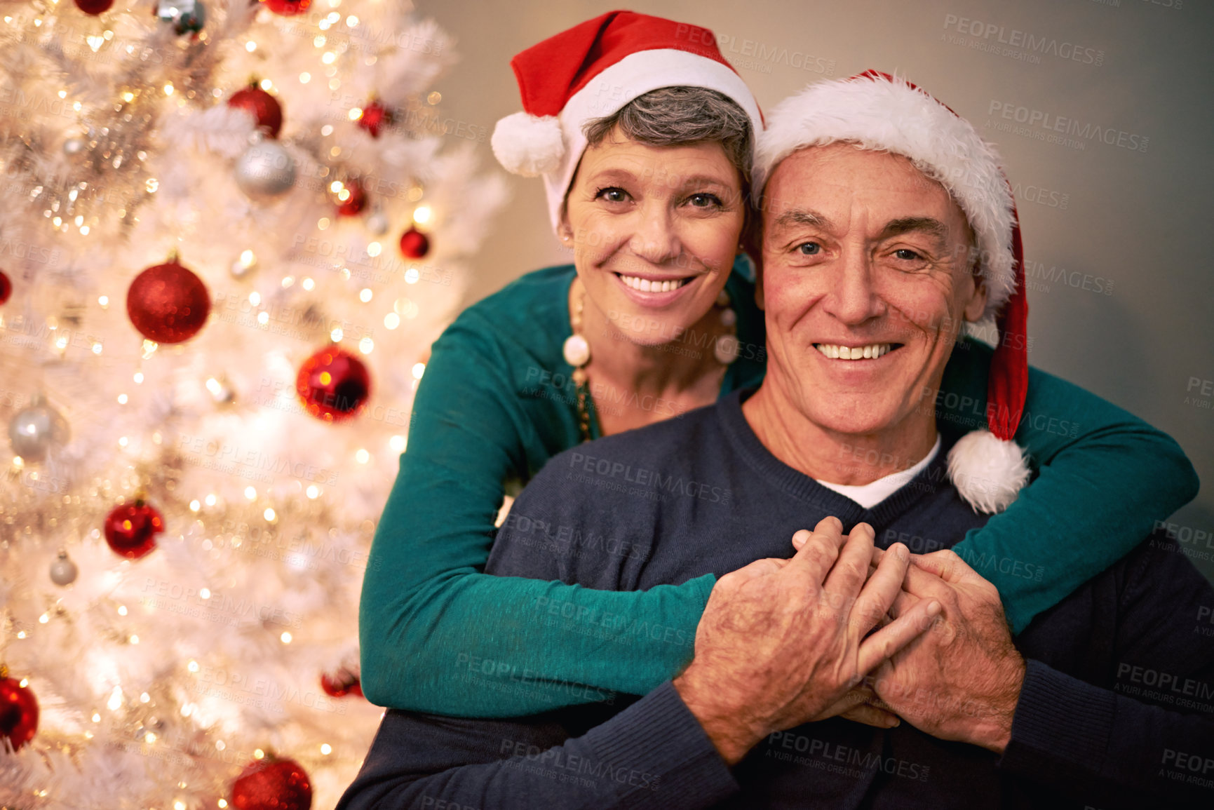 Buy stock photo A cropped portrait of a happy mature couple in front of a Christmas tree