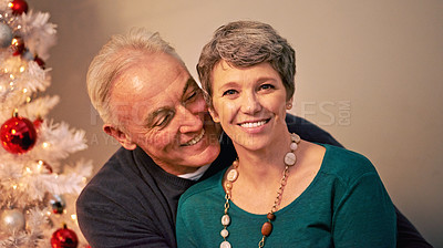 Buy stock photo Cropped portrait of a happy mature couple beside a Christmas tree