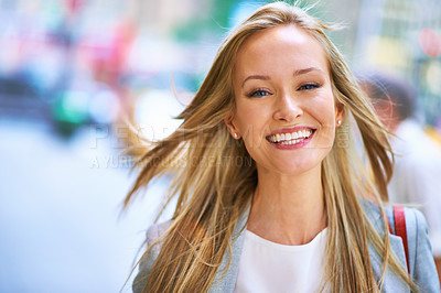 Buy stock photo A beautiful young woman on the streets of New York