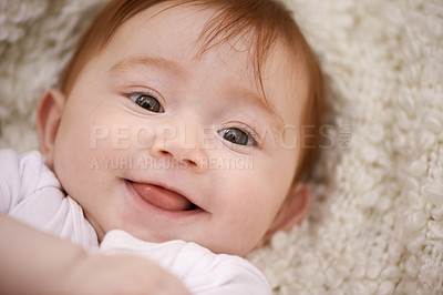 Buy stock photo Shot of an adorable baby girl with red hair
