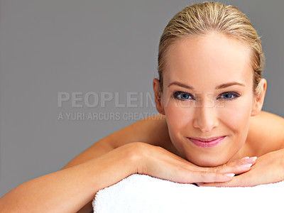 Buy stock photo A beautiful young woman relaxing in a spa