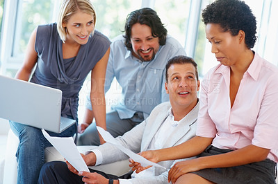 Buy stock photo Successful business team working on project in the office