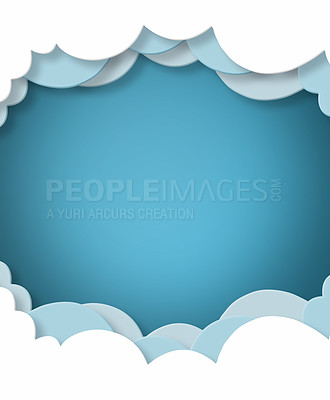 Buy stock photo Cartoon Paper Clouds on blue background