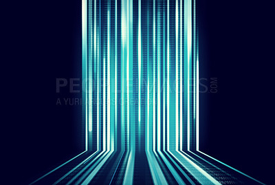 Buy stock photo Cropped view of a data stream against a black background
