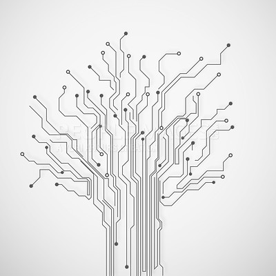 Buy stock photo Cropped view of circuitry in the shape of a tree while isolated on white