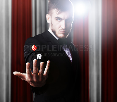 Buy stock photo Shot of a magician at a carnival performance