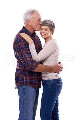 Buy stock photo Studio shot of an affectionate elderly couple isolated on white