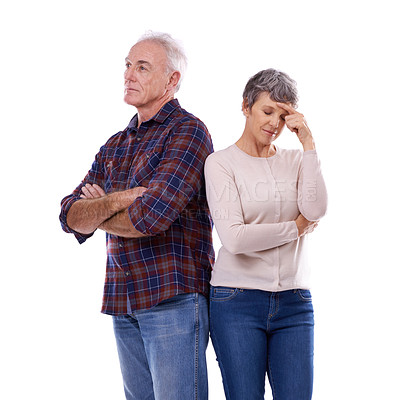 Buy stock photo Studio shot of a senior couple with marital problems isolated on white