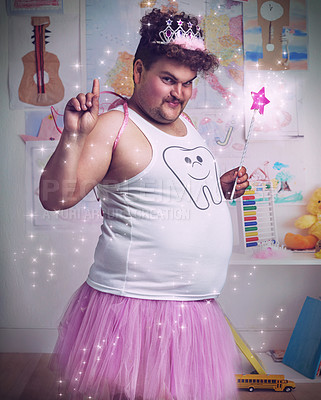 Buy stock photo An overweight man dressed as the tooth fairy