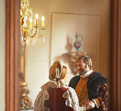 Buy stock photo A king and queen standing together in their palace