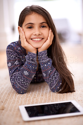 Buy stock photo Shot of a cute little girl at home