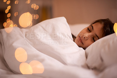 Buy stock photo Shot of a little girl sleeping in her bed
