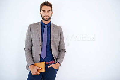 Buy stock photo Shot of a stylish business man