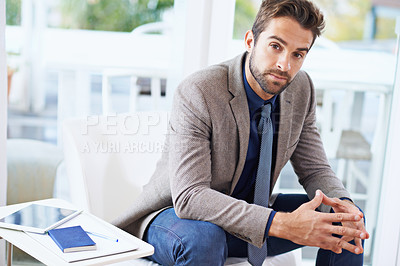 Buy stock photo Shot of a business man at the office