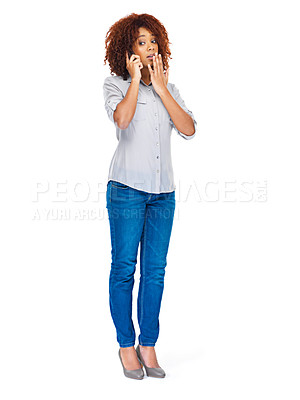 Buy stock photo Studio shot of an attractive young woman using a cellphone isolated on white