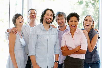 Buy stock photo Group of multi ethnic business people standing together at office