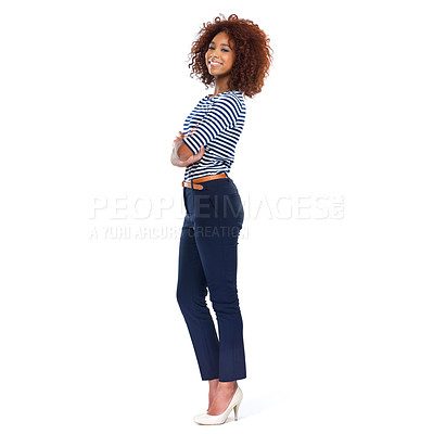 Buy stock photo Full-length portrait of a beautiful young woman standing against a white background