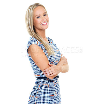 Buy stock photo Cropped studio portrait of a beautiful young woman isolated on white