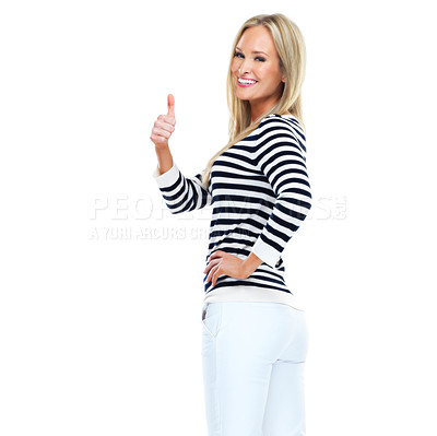 Buy stock photo Studio portrait of a beautiful young woman showing thumbs up
