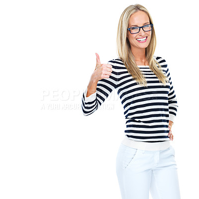 Buy stock photo Studio portrait of a beautiful young woman showing thumbs up isolated on white