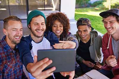 Buy stock photo Friends taking a selfie on a tablet