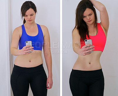 Buy stock photo Shot of a woman before and after her diet