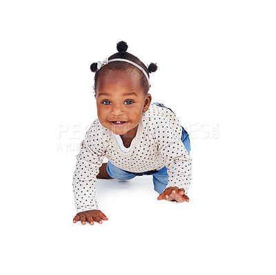 Buy stock photo Studio shot of an adorable baby girl isolated on white