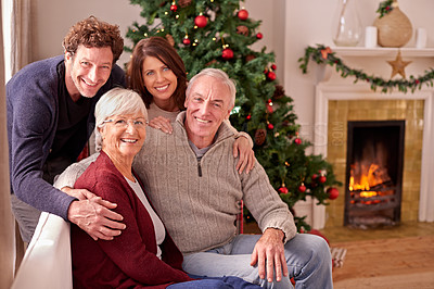 Buy stock photo Portrait of a family at christmas