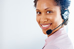 Female customer service representative smiling