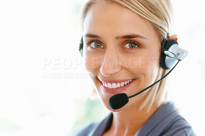 Buy stock photo Closeup portrait of beautiful female executive wearing headset and smiling