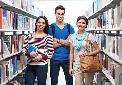 Buy stock photo Shot of three learners about to study