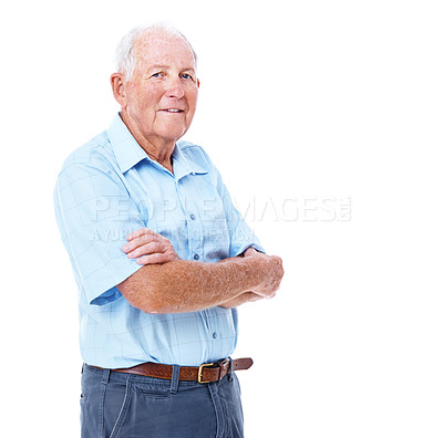 Buy stock photo Studio portrait of a smiling elderly man with his arms crossed isolated on white