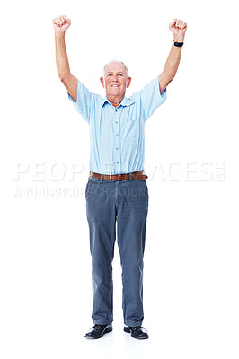 Buy stock photo Full length studio portrait of an elderly man with his arms raised in celebration isolated on white