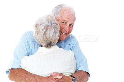 Buy stock photo Rearview portrait of an elderly man hugging his wife isolated on white