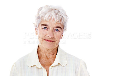 Buy stock photo Studio portrait of an elderly woman isolated on white