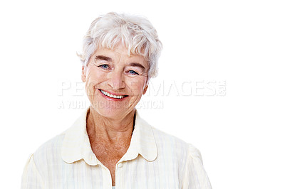 Buy stock photo Studio portrait of a smiling elderly woman isolated on white