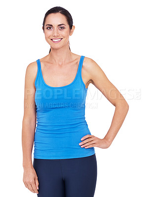 Buy stock photo Portrait of a sporty young woman standing with her hand on her hip