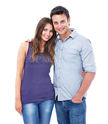 Buy stock photo Studio shot of a casual couple smiling at the camera