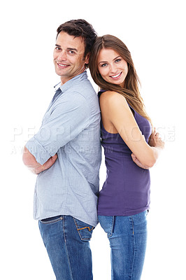Buy stock photo Shot of a couple standing back to back against a white background