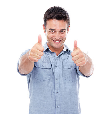 Buy stock photo Shot of a smiling man showing a thumbs up to the camera against a white background