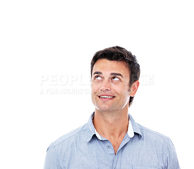 Buy stock photo Shot of a man looking up at copyspace against a white background