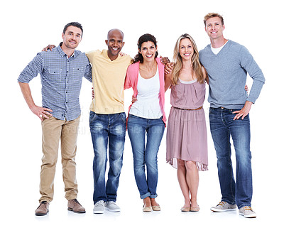 Buy stock photo A multi-ethnic group of coworkers standing together and smiling while isolated on white