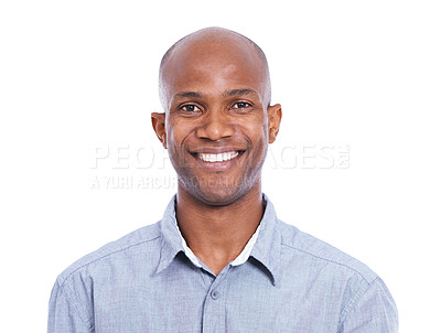 Buy stock photo Cropped head and shoulders shot of a smiling african american man isolated on white