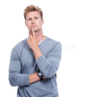 Buy stock photo A handsome man isolated on white while looking thoughtful